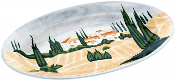 "Keramik Platte oval 46cm handbemalt ""SIENA"" - Magu 125 235"
