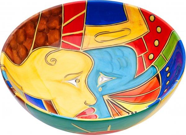 "Keramik Schale rund 26cm handbemalt ""FACE to FACE"" - Magu 180 113"