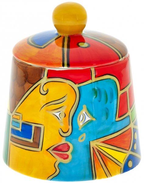 """Keramik Zuckerdose handbemalt """"FACE to FACE"""" - Magu 180 745"""