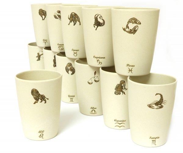"Magu Zodiac Cups - 12er Bambus Becher Set ""Sternzeichen"" Lasergravur zod iac"