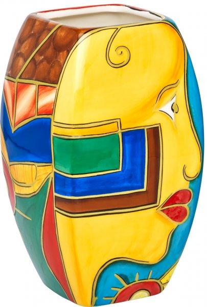 """Keramik Vase 20cm handbemalt """"FACE to FACE"""" - Magu 180 862"""