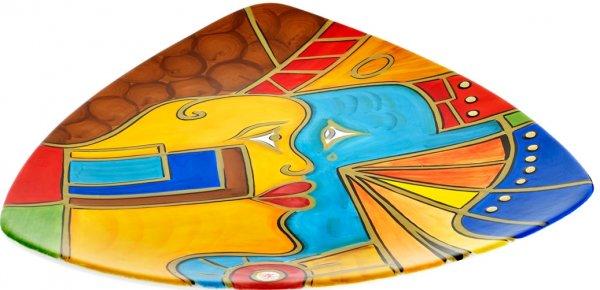 "Keramik Frühstücksteller 24cm handbemalt ""FACE to FACE"" - Magu 180 312"