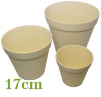 Bamboo flower pot 17cm nature white